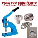 Presse Pour Bâches /Banner - 5 outils inclus de Ø 6/8/10/12/15mm