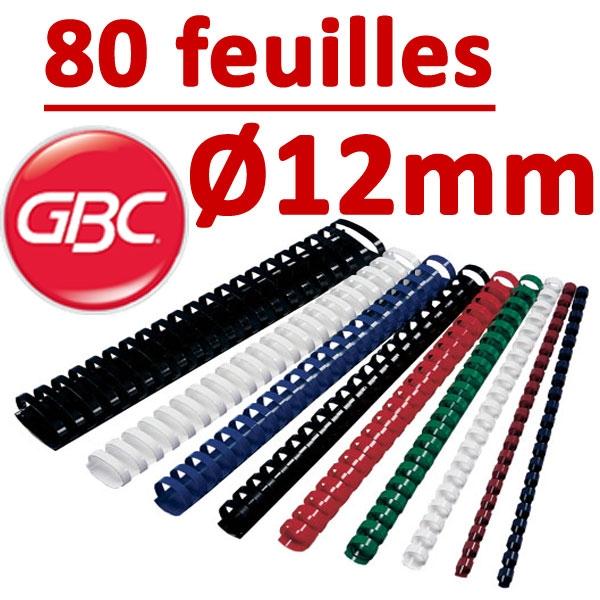 Marque GBC #Ø 12mm de 61 à 80 feuilles #boite de 100pcs