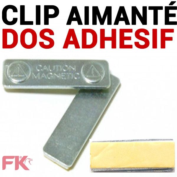Clip Barrette acier aimanté avec adhésif de fixation.#Format : 45 x 13 mm - Ref : CAM - Vendu Par 100 Aimants