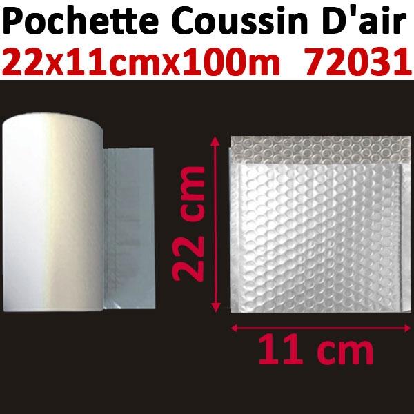 Pochette petites bulles d air 20X10cm longueur 100 mètres#Film 20µ polyéthylène,prédécoupé#Pour Wiair-1000 & 3000#Réf 72031