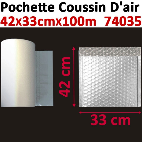 Pochette de petites bulles d air 42X33cm longueur 100 mètres#Film 20µ polyéthylène,prédécoupé#Pour Wiair-1000 & 3000#Réf 74035