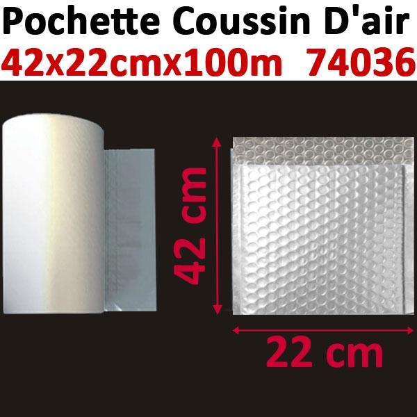 Pochette de petites bulles d air 42X22cm longueur 100 mètres#Film 20µ polyéthylène,prédécoupé#Pour Wiair-1000 & 3000#Réf 74036