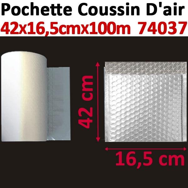 Pochette de petites bulles d air 42X16,5cm longueur 100 mètres#Film 20µ polyéthylène,prédécoupé#Pour Wiair-1000 & 3000#Réf 74037
