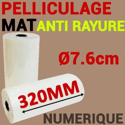 Film Pelliculage DERPROSA Numérique MAT ANTI RAYURE 27μ# Largeur 320mm Ø 7.6cm# Vendu par 1 Rouleau de 500 mètres