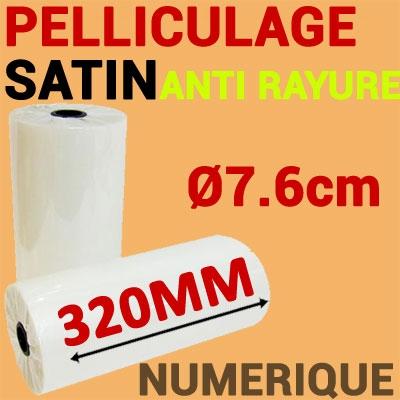 Film Pelliculage DERPROSA Numérique SATIN ANTI RAYURE 27μ# Largeur 320mm Ø 7.6cm# Vendu par 1 Rouleau de 500 mètres