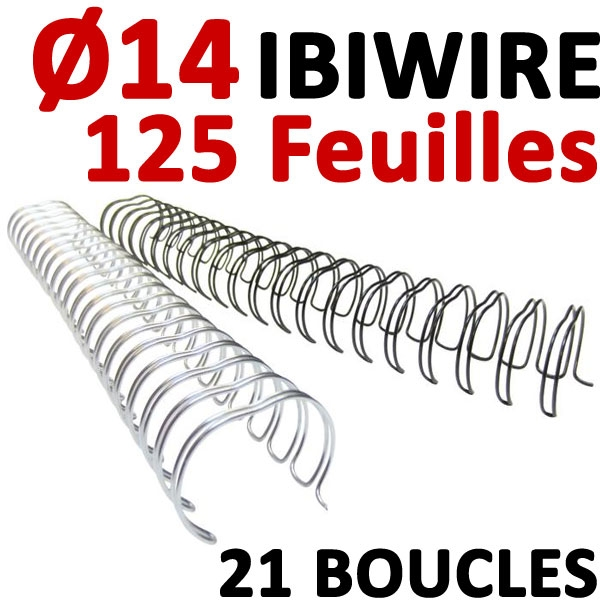 Ø 14mm de 95 à 125 feuilles # IBIWIRE Pas Anneaux Plastique  (21 Boucles  )# Boite de 100pcs