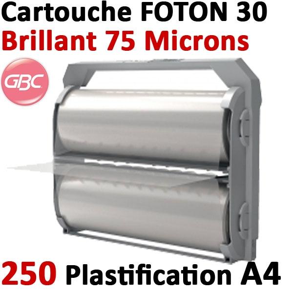 Cartouche GBC de film brillant 75 microns # Pour la plastification de 250 feuilles A4 au maximum # Ref : 4410013