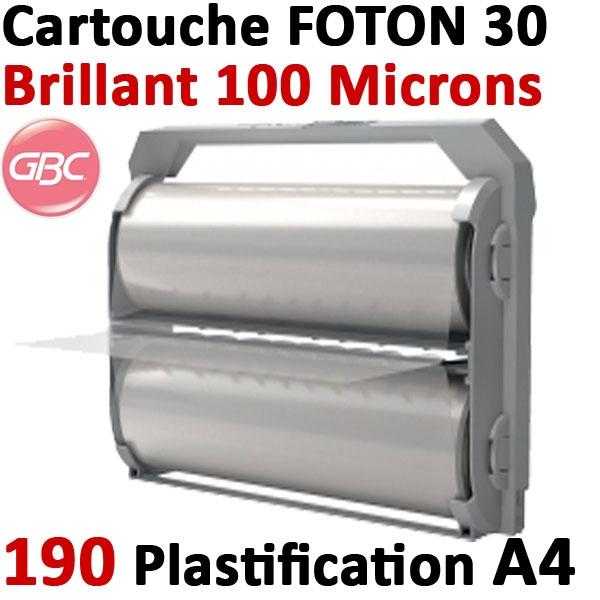 Cartouche GBC de film brillant 100 microns # Pour la plastification de 190 feuilles A4 au maximum # Ref : 4410018