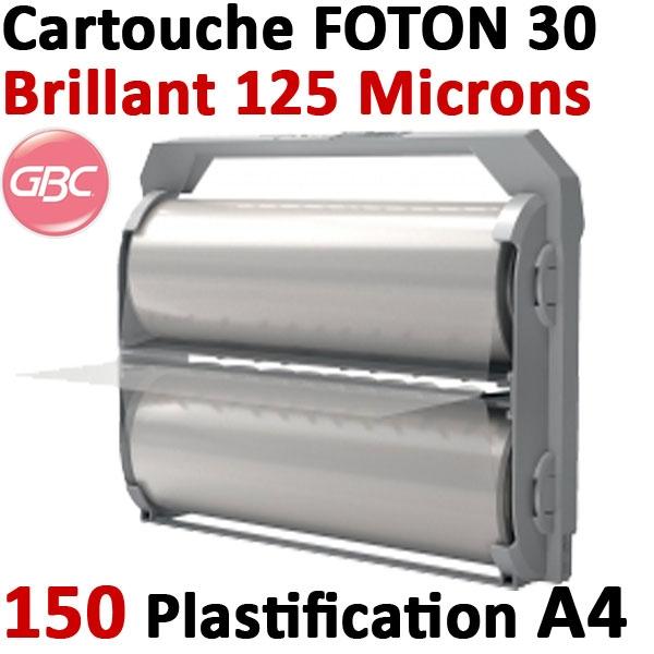 Cartouche GBC de film brillant 125 microns # Pour la plastification de 150 feuilles A4 au maximum # Ref : 4410012
