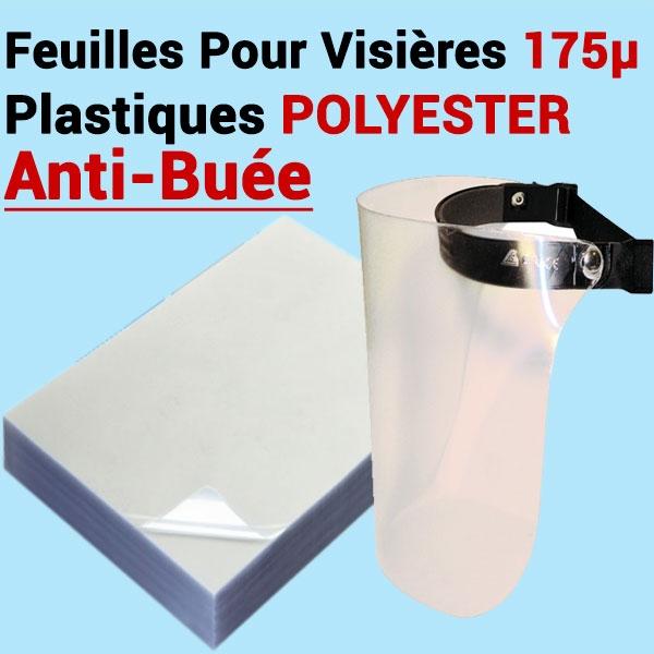 @Feuilles Pour Visières 175µ  transparent # Anti-Buée # Le paquet de 100 feuilles