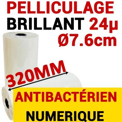Film Pelliculage DERPROSA  Bact Bacterstop  BRILLANT 24μ# Largeur 320mm Ø 7.6cm# Vendu par 1 Rouleau de 500 mètres