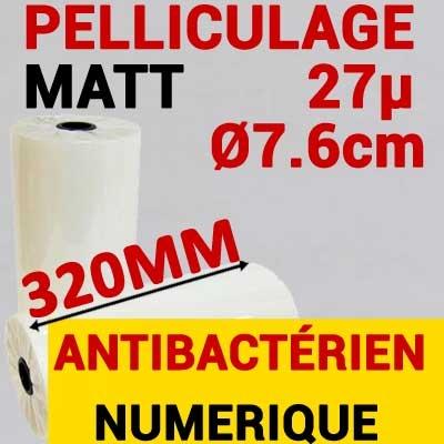 Film Pelliculage DERPROSA Bact Bacterstop  MAT 27μ# Largeur 320mm Ø 7.6cm# Vendu par 1 Rouleau de 500 mètres