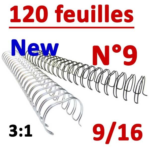 N°9: 14.3mm 120 feuilles 9/16 NEW  # Pas 3:1 (34 anneaux)# Boite de 100pcs