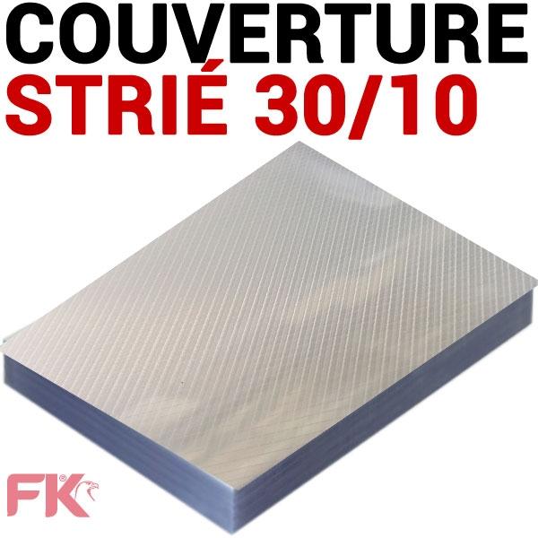 @Couverture 30/100 strié polypro transp.#Le paquet de 100 feuilles