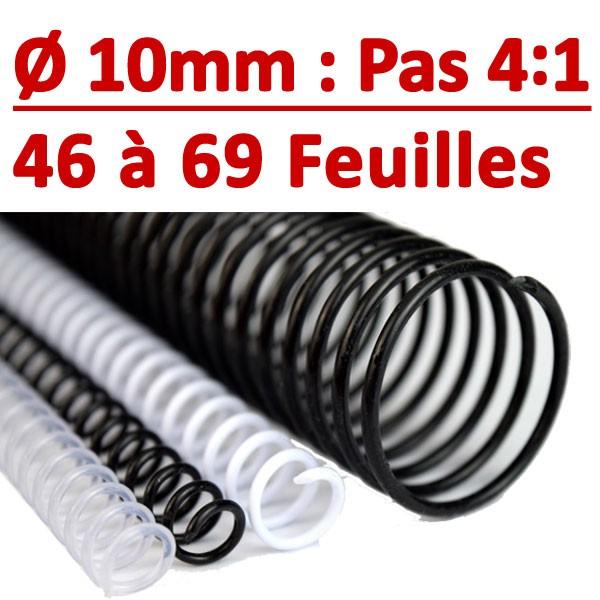 """Ø 10mm : 46 à 69 feuilles 5/16"""" Coil Pas 4:1 #Boite de 100 pcs"""