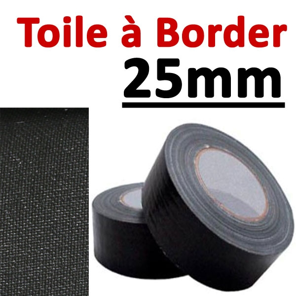 Toile à border 25mm Noire#Rouleau de 25 mètres#Vendu Par 1 rouleau
