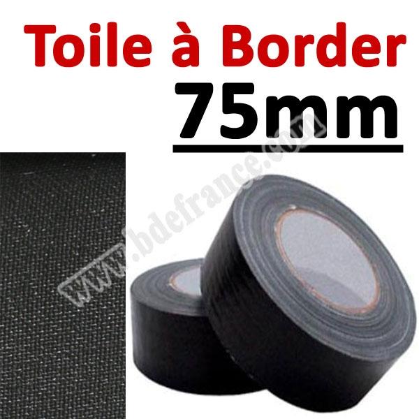 Toile à border 75mm Noire#Rouleau de 25 mètres#Vendu Par 1 rouleau