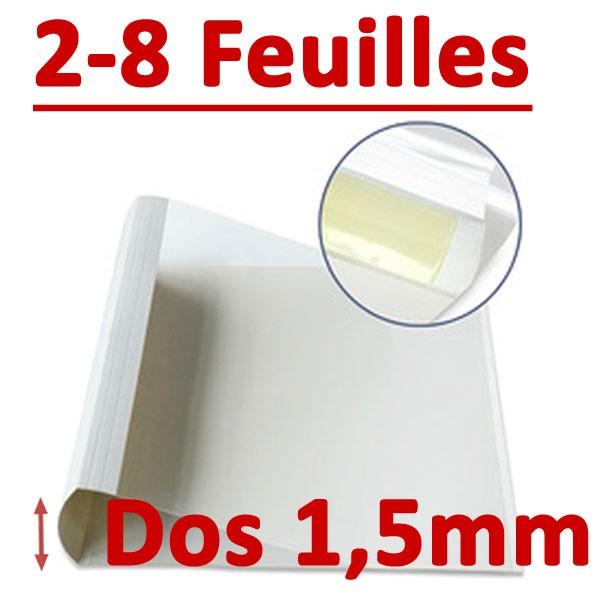 Dos Largeur 1.5 Mm De 2 A 8 Feuilles#Par Boite De 100