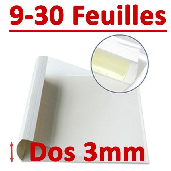 Dos Largeur 3 Mm De 9 A 30 Feuilles#Par Boite De 100