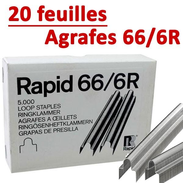 Agrafe  Rapid (Rapid 106E) 66/6r À Oeillet Galva#  Original Capacité 20 feuilles