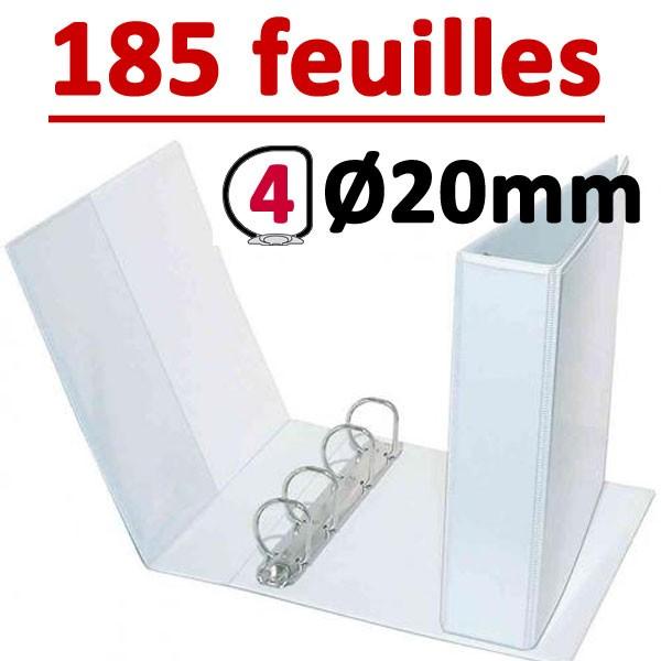 Classeur Personnalisable Blanc A4 - # 4 anneaux Ø 20 mm Dos 35mm # Capacité 185 feuillets 80gr # Pochette intérieur et extérieur