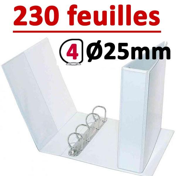 Classeur Personnalisable Blanc A4 - # 4 anneaux Ø 25 mm Dos 40mm # Capacité 230 feuillets 80gr #Pochette intérieur et extérieur