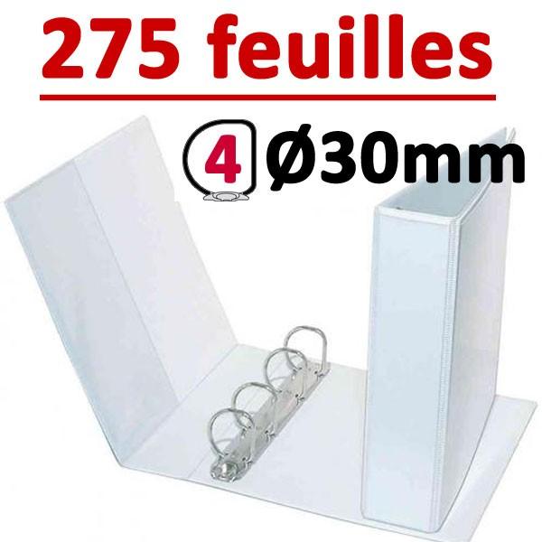 Classeur Personnalisable Blanc A4 - # 4 anneaux Ø 30 mm Dos 50mm # Capacité 275 feuillets 80gr#Pochette intérieur et extérieur
