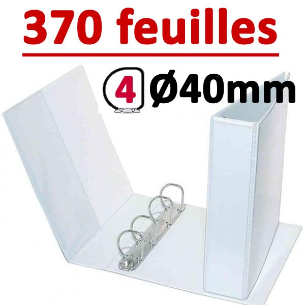 Classeur Personnalisable Blanc A4 - # 4 anneaux Ø 40 mm Dos 60mm #  Capacité 370 feuillets 80gr#Pochette intérieur et extérieur