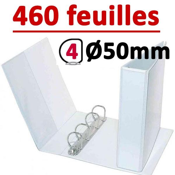 Classeur Personnalisable Blanc A4 - # 4 anneaux Ø 50 mm Dos 75mm #Capacité 460 feuillets 80gr#Pochette intérieur et extérieur