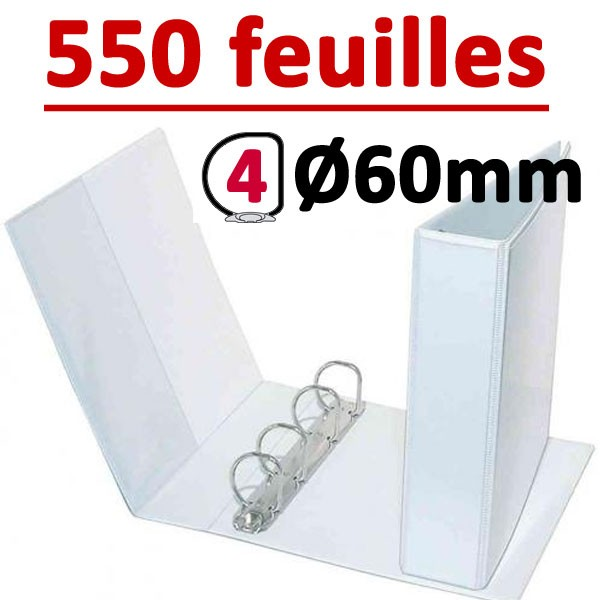 Classeur Personnalisable Blanc A4 - # 4 anneaux Ø 60 mm Dos 90mm #Capacité 550 feuillets 80gr#Pochette intérieur et extérieur