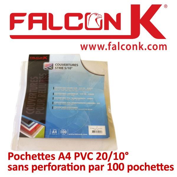 Pochettes A4 PVC 20/10° sans perforation