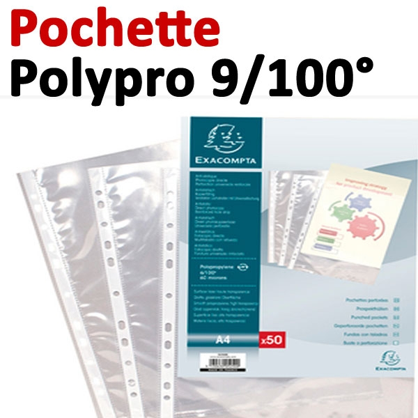 Pochettes Polypropylène Lisse 9/100° - A4#   Vendu Par 100