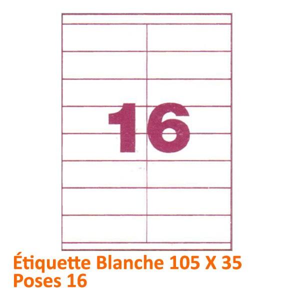 @Étiquette Blanche 105 X 35 Poses 16#Le paquet de 100 feuilles