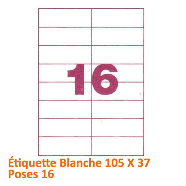 Étiquette Blanche 105 X 37 Poses 16#Le paquet de 100 feuilles