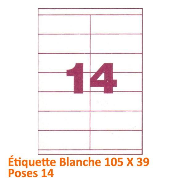 Étiquette Blanche 105 X 39 Poses 14#Le paquet de 100 feuilles