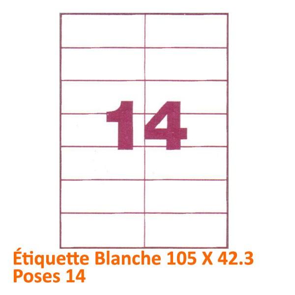 Étiquette Blanche 105 X 42.3 Poses 14#Le paquet de 100 feuilles