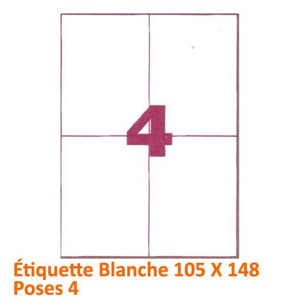 Étiquette Blanche 105 X 148 Poses 4#Le paquet de 100 feuilles