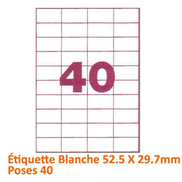 Étiquette Blanche 52 X 2.97 Poses 40#Le paquet de 100 feuilles