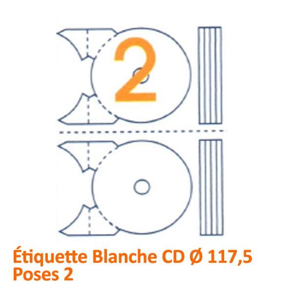 Étiquette Blanche CD Ø 117,5 Poses 2#Le paquet de 100 feuilles