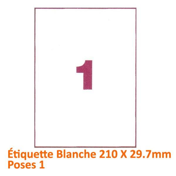 Étiquette Blanche 210 X 297 Poses 1#Le paquet de 100 feuilles