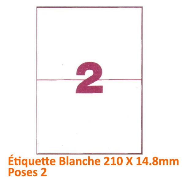 Étiquette Blanche 210 X 148 Poses 2#Le paquet de 100 feuilles