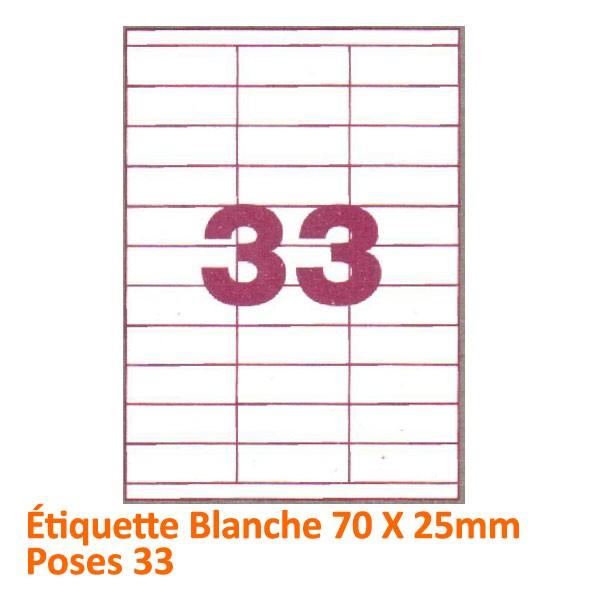 Étiquette Blanche 70 X 25 Poses 33#Le paquet de 100 feuilles