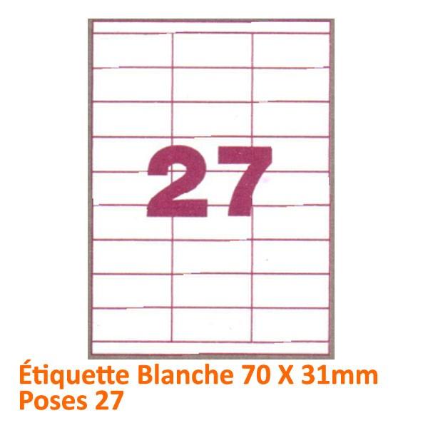 Étiquette Blanche 70 X 31 Poses 27#Le paquet de 100 feuilles