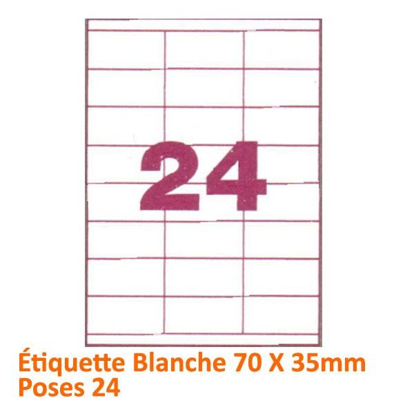 Étiquette Blanche 70 X 35 Poses 24 #Le paquet de 100 feuilles
