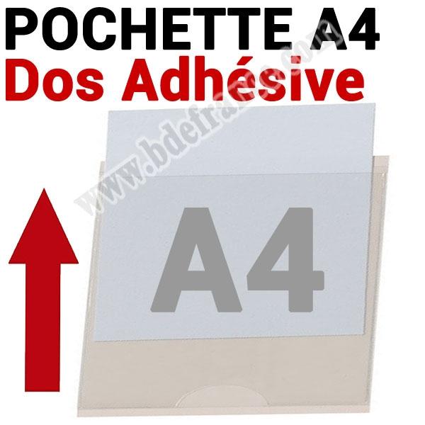 Pochette A4 Dos Adhésive 220 x 302mm (305 mm Exterieur)  # Ouverture petit coté # Ref : PPA4P Boite de 100 Pochettes