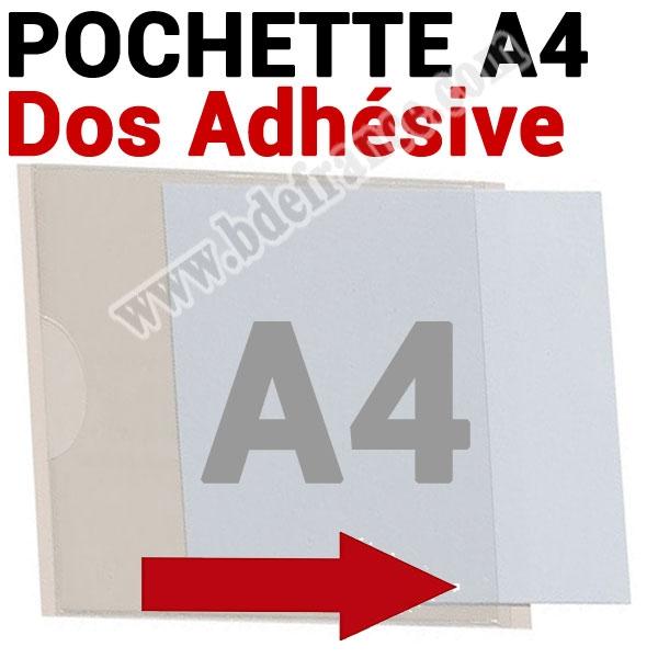 Pochette A4 Dos Adhésive 307 x 215mm (220 mm Exterieur)  # Ouverture grand coté # Ref : PPAA4 Boite de 100 Pochettes