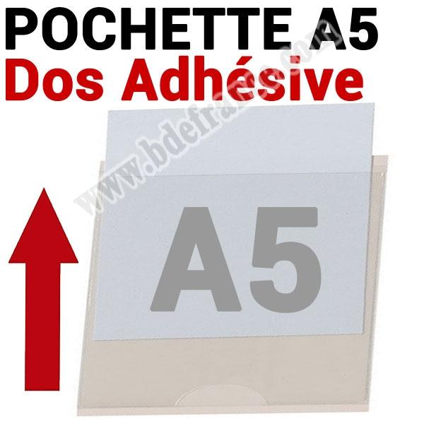 Pochette A5 Dos Adhésive 220 x153 mm (158 mm Exterieur) # Ouverture petit coté #Ref : PPA5 Boite de 100 Pochettes