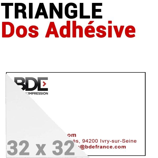Pochette 32 x 32mm Dos Adhésive coin Triangulaire #  Réf : PPA32 Boite de 100 pochettes