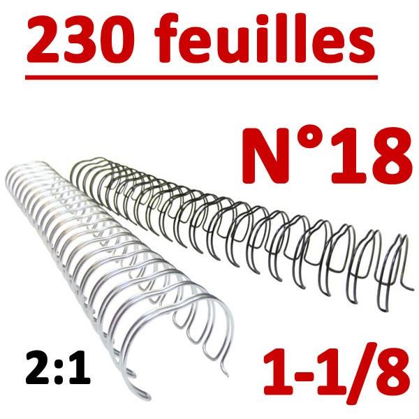 N°18 : 28.5mm 230 feuilles 1-1/8 #Pas 2:1 (23 anneaux) #Boite de 50pcs