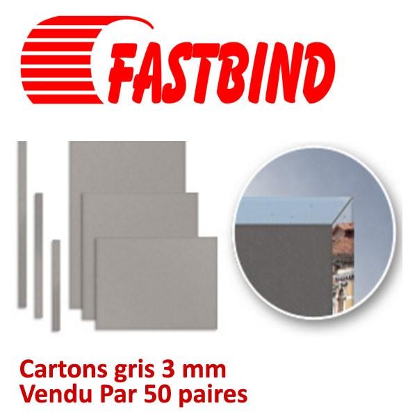 Cartons gris 3 mm + tranche carton pour dos #Vendu Par 50 paires (100 pcs)/boite